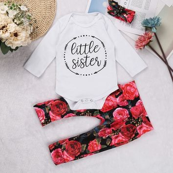 3Pieces Set Autumn Infant Baby Girls Outfit Little Sister Long Sleeves Romper + Floral Printed Pants Headband Set 3-12 Months