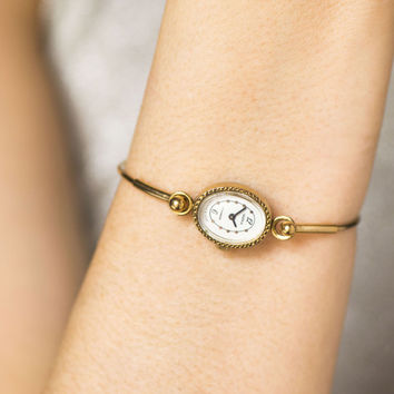 Gold plated watch bracelet, women's watch tiny Seagull, oval face watch her, retro bracelet watch gift, ladies cocktail watch delicate style