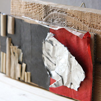 Found objects reclaimed wood assemblage / modern abstract wall art / black red silver wood beige home decor