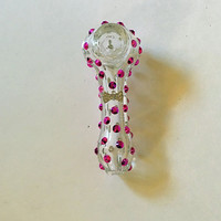 SALE!!! Raspberry and clear tobacco glass pipe bling pipe