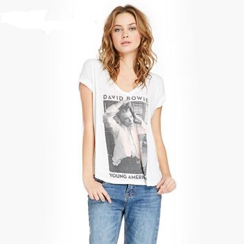 European Style Summer Casual Women T Shirt David Bowie Print Graphic Top Tees White V-Neck Cotton Short Sleeve T-Shirts