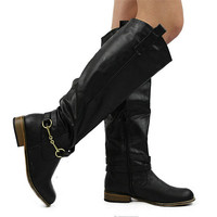 """""""Parksville"""" Knee High Riding Boots - Black from H.C.B. - Products tagged with boots, shoeswomen, accessories"""