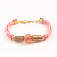 Pink bracelet with brass tubes and faceted glass bead, tube bracelet, knit bracelet