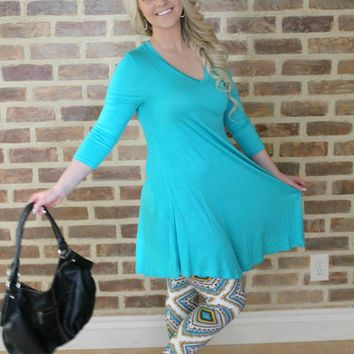 Turquoise Quarter Sleeve Dress