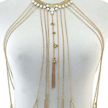 Bead Layered Fringe Bikini Body Chain