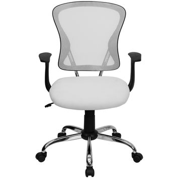 White Mesh Mid back Adjustable Swivel Seat Office Desk Task Chair Chrome base