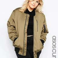 ASOS Curve | ASOS CURVE Bomber Jacket with Zip Detail at ASOS