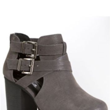 Soda Shoes Open Side Buckle Ankle Booties in Gray SCRIBE-S-GREY