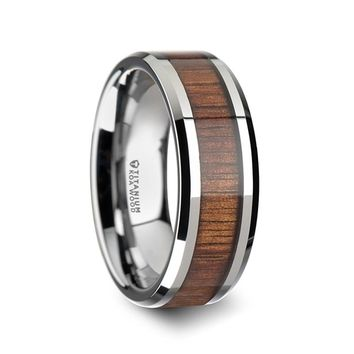 Real Koa Wood Inlay Titanium Wedding Band, Beveled Edges