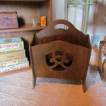Art Deco Magazine Rack With Cut Out Design Wooden
