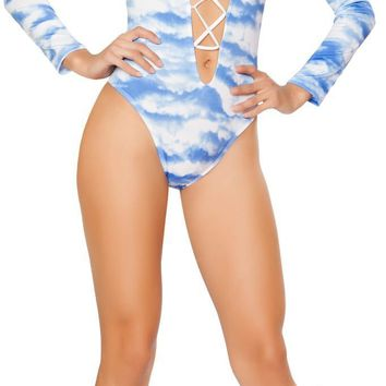 Roma RM-3293 Printed Lace-up Long Sleeved Romper