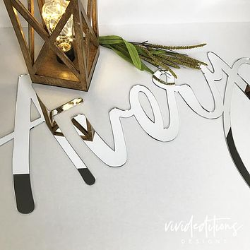 """30"""" Silver Mirror Large Personalized Name Sign"""