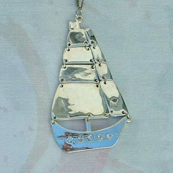 Articulated Sailboat Pendant Necklace Rhinestones Maritime Sailor Jewelry