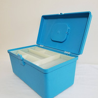 Aqua Blue Sewing box Wil-Hold Wilson storage box divided compartments