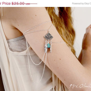 Weekend SALE Armlet Slave Bracelet Arm Bracelet Piece Hipster Eye Silver Chain Moroccan Charm Turquoise Bead Bohemian Drape Body Jewelry Lun
