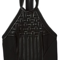 David Koma woven halter neck top
