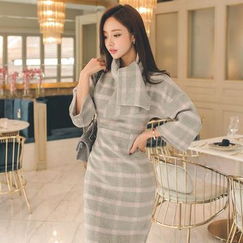 2017 Spring New Women Midi Office Party Sexy Woolen Vintage Bodycon Plaid Dress Vestidos Batwing Sleeve Dresses Plus Size