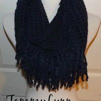 NEW!!  Navy Tassel Infinity Scarf Sweater Style Winter Womens Accessories
