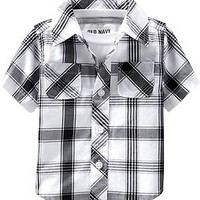 Short-Sleeved Plaid Shirts for Baby