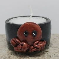 Octopus Tea light candle Polymer Clay Decorated TeaLight **Polymer Clay covers the original Plastic Tea light cup**