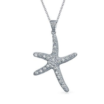 Starfish Nautical Beach Pendant Necklace CZ 925 Sterling Silver
