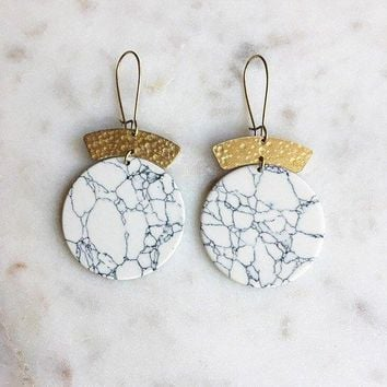 The Hills Hammered White Howlite Earrings