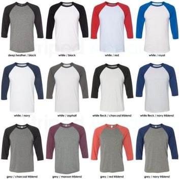 Canvas Mens 3/4 Sleeve Baseball T-Shirt XS-2XL Unisex Raglan Jersey Tee 3200 NEW