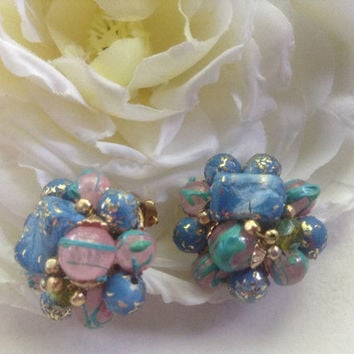 Hong Kong Cluster Bead Earrings Clip ons 70s crystal blue pink turquoise swirls multicolor beads AB gold tone cottage chic  gift