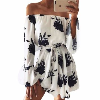 Summer Sexy Women Floral Print Mini Dress Sundress Boat Neck Off Shoulder Flare Sleeve Beach Long Sleeve Dresses Vestidos