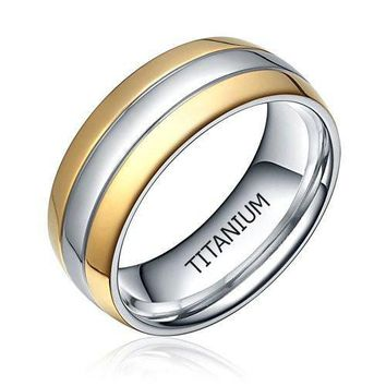 6mm/8mm Titanium Two Tone Dome Polished Comfort Fit Wedding Band Rings for Women and Men