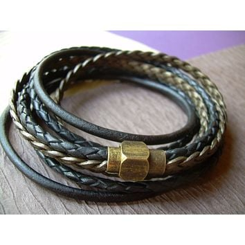 Mens Bracelets Leather, Triple Wrap Leather Bracelet with an Antique Brass Magnetic Clasp,  Bracelets for Women, Jewelry for Men, Mens Gift