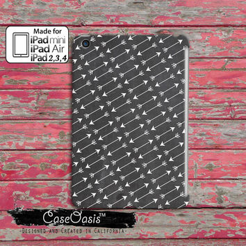 Gray And White Arrow Pattern Boho Tribal Tumblr Inspired Cute Custom iPad Mini 1, 2 and  iPad 2, 3, 4 and iPad Air and iPad Air 2 Case Cover