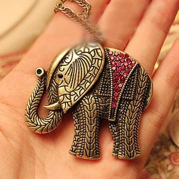 Elephant Crystal Vintage Retro Long Necklace