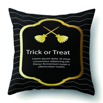 Creative Skull Pumpkin Letter Cushion Cover Polyester Peach Skin Square Pillowcase Nordic Style Pillow Cover for Home Car Decor