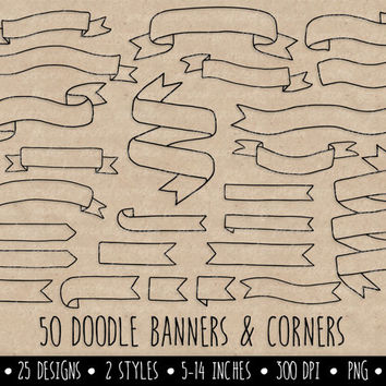 SALE - 20% OFF. Hand Drawn Banners Clip Art. Doodle Ribbon Banners. White Banners Clip Art. Digital Banner Outlines.