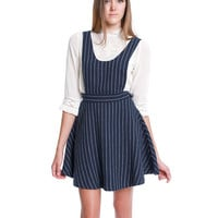 Ready Or Not Pinafore Pinstripe Dress - Navy