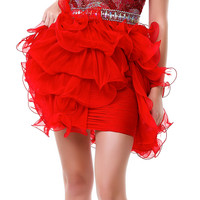 SALE! Red Luscious Layered Strapless Sweetheart Cocktail Dress - Unique Vintage - Prom dresses, retro dresses, retro swimsuits.