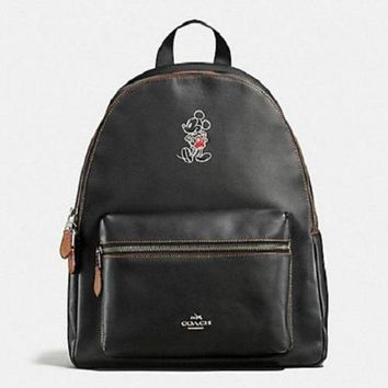 ICIK8X2 New Authentic Coach Mickey F59378 Charlie Backpack Shoulder Bag In Glove Calf Leather