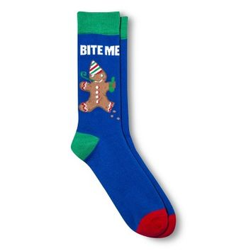 Men's Bite Me Gingerbread Socks