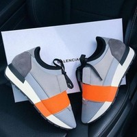 BALENCIAGA Trending Women Men Casual Sneakers Shoes Grey Orange I