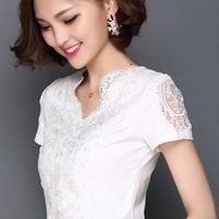 2017 Fashion Summer Style Blusa White Lace Cotton Blouse Elegant Women Tops Plus Size Sexy Hollow Out Shirts Woman Clothes 59C40