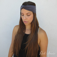 Luxe Turban Twist Headband (Grey)