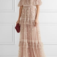 Needle & Thread - Supernova tiered off-the-shoulder embellished tulle gown