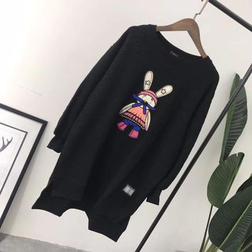 """MCM"" Women Loose Casual Embroidery Cartoon Rabbit Long Sleeve Irregular Sweater Dress"