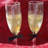 Hand Painted Wedding ....Anniversary....Toasting Flutes....Silver....Black....Glamor