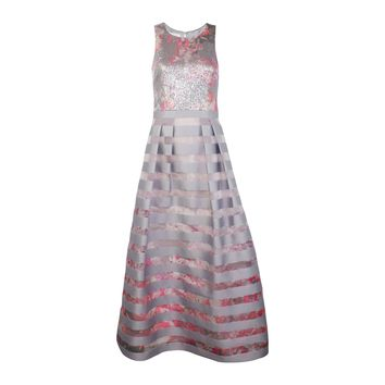 Sleeveless Sequined Bodice Striped Gown