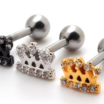 Fashion crown shaped Stainless steel zircon earrings antiallergic tragus Earring-0427-Gifts box
