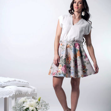 Skater Floral Dress, crossover skater dress, open back dress, crossover floral skater dress