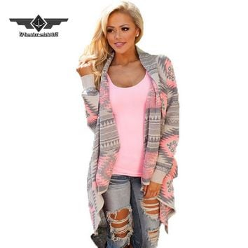 2017 new Fashion Collarless Kimono Cardigan Long Sleeve Poncho Pink Grey Sweaters Tribal Print Asymmetrical Cardigan Women Tops