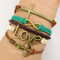 Fashion Bracelet,cross with infinity bracelet,Love with anchor bracelet jewelry bestfriend gift